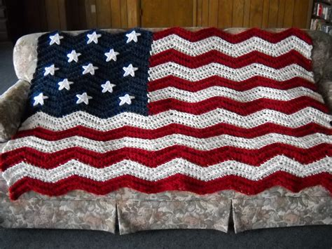 Handmade Afghan - american flag afghan handmade ripple crochet original 13