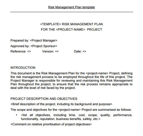 risk acceptance form template risk management plan template 9 free documents