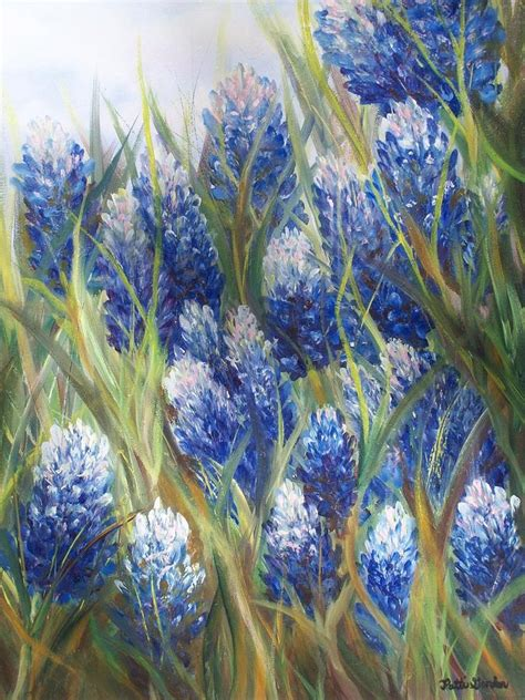 Gorden Flower Blue by Bluebonnet Barrage Painting By Patti Gordon Bluebonnet