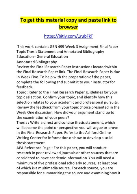 thesis bibliography 499 week 3 assignment paper topic thesis