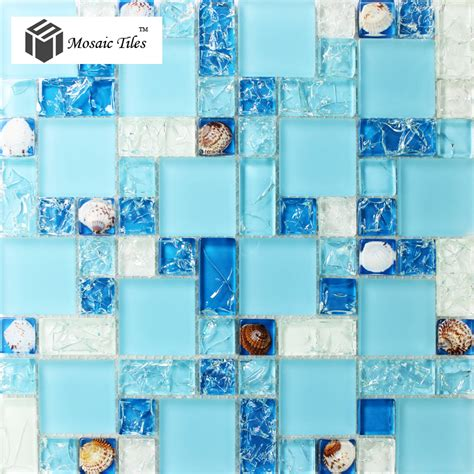 sea glass mosaic tile bathroom tst glass conch tiles sea blue glass tile bathroom wall