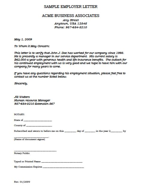 Employment Verification Letter Template employment verification letter template with