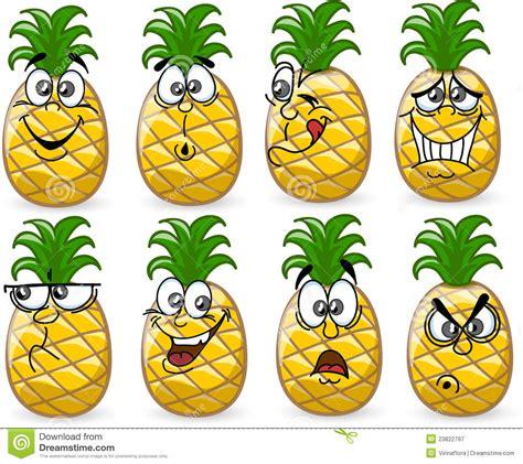 banco delle emozioni ananas fumetto con le emozioni fotografia stock libera