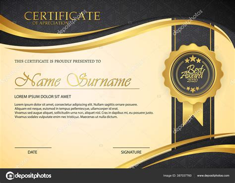 desain templat sertifikat hitam premium stok vektor