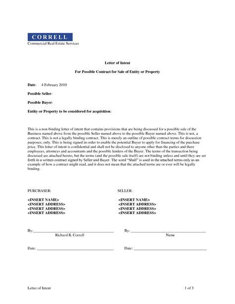 Letter Of Intent To Sell Property Template Collection Letter Cover Templates Letter Of Intent To Sell A Business Template