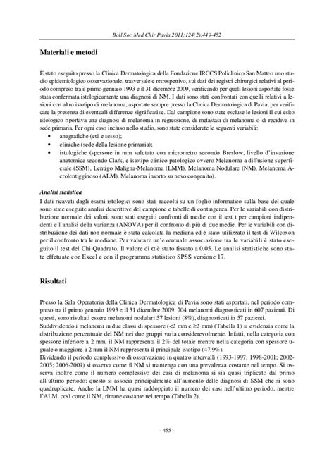 clinica dermatologica pavia aspetti clinici istopatologici ed epidemiologici