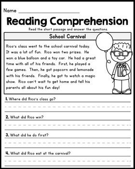 reading comprehension test narrative free first grade reading comprehension passages set 1 by