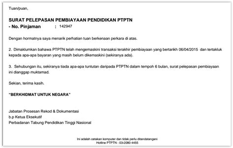 Release Letter Ptptn Oc Surat Pelepasan Hutang