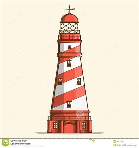 retro lighthouse isolated on white background line