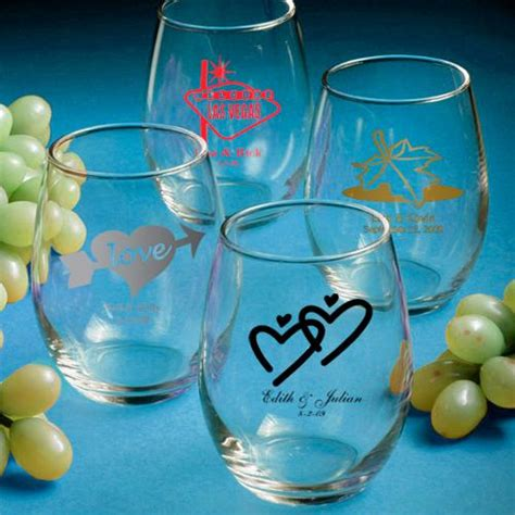 Wine Glass Wedding Giveaways - personalized stemless wine glasses wedding favors 1180875 weddbook