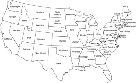 black and white map of the united states contiguous united states black and white outline map