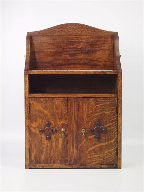small vintage oak hanging cabinet