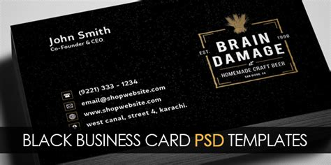 black business card templates free vintage black business card psd template freebies