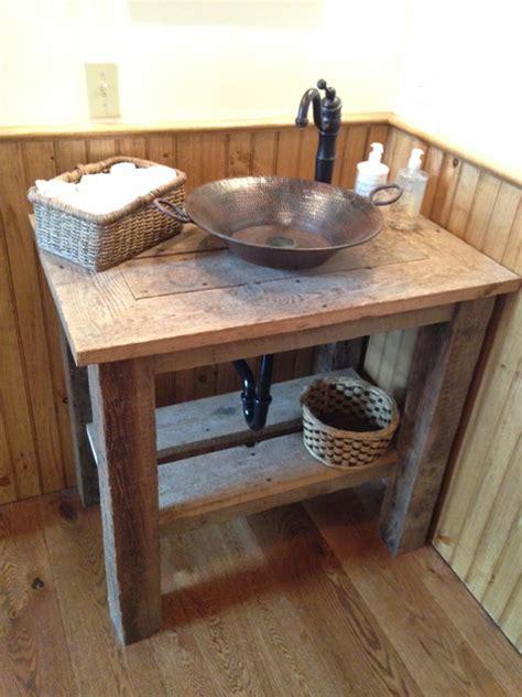 powder room vanities with vessel sinks reclaimed wood vanity with hammered copper vessel