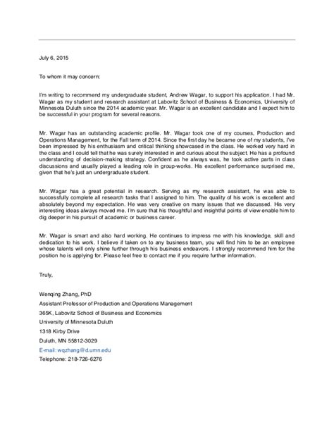 Reference Letter Hr Assistant letter of recommendation research recommendation letter
