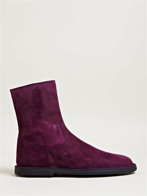 demeulemeester suede leather boots in purple for