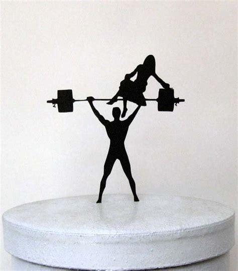 weight lifting cake topper wedding cake topper your is strong weight lifting groom silhouette 2261325 weddbook