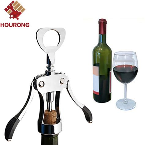 hourong 1pc professional stainless steel wine bottle opener handle pressure corkscrew wine