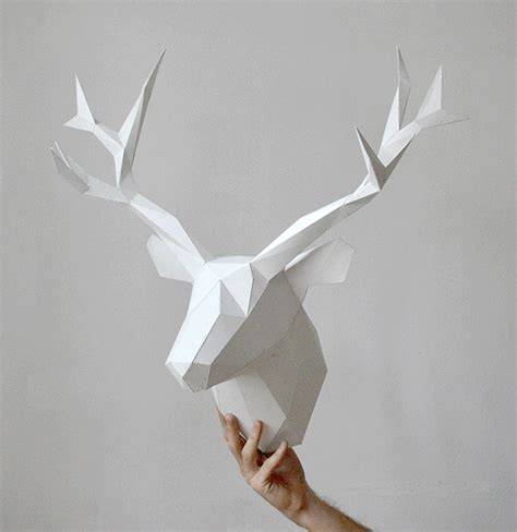 How To Make A Deer Out Of Paper - white animal paper heads for interior decoration design