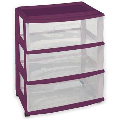 Sterilite 3 Drawer Wide Cart Purple by Homz Wide 3 Drawer Cart With Clear Drawers Purple