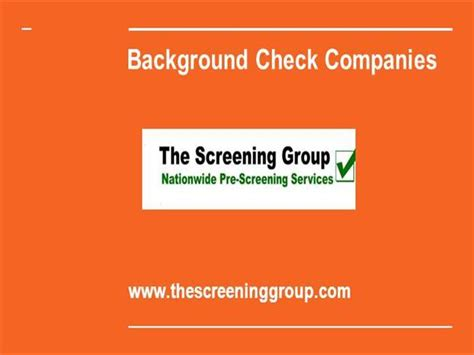 Background Check Companies Background Check Company The Screening