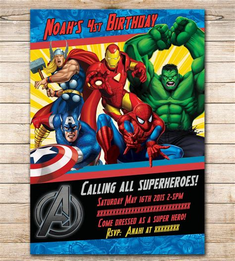 Marvel Birthday Card Template by Birthday Invitation Search Visit To