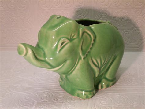 Vintage Elephant Planter by Vintage Mccoy Elephant Planter Unmarked Jadeite By Ozarksfinds