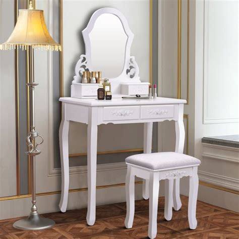 White Vanity Table Set Jewelry Armoire Makeup Desk Bench Drawer by Costway White Vanity Jewelry Wooden Makeup Dressing Table