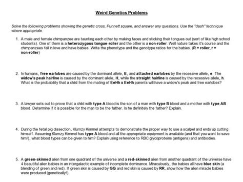 genetics practice problems worksheet answer key worksheets