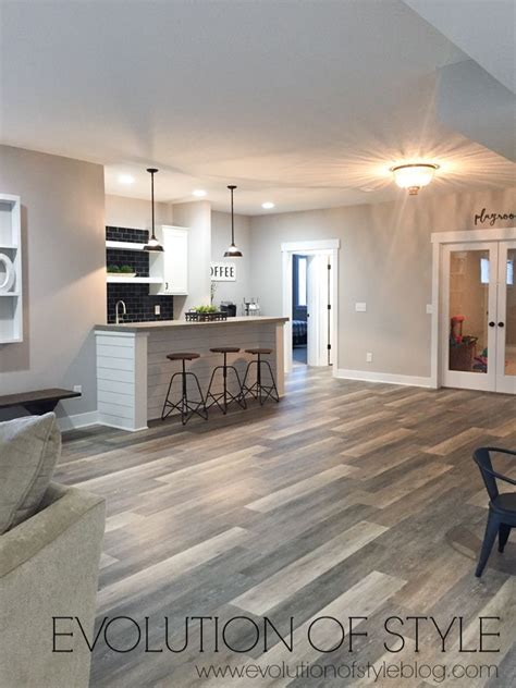 Modern Farmhouse  Basement Flooring Basement