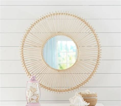 rattan woven  geometric mirrors