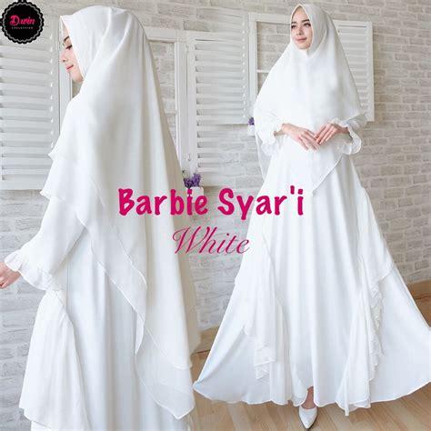 gamis syari premium barbie putih baju muslim polos
