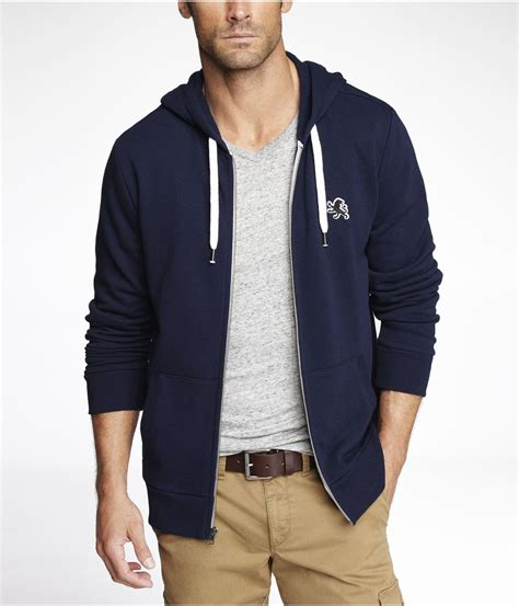 express fleece small zipup hoodie in blue for lyst
