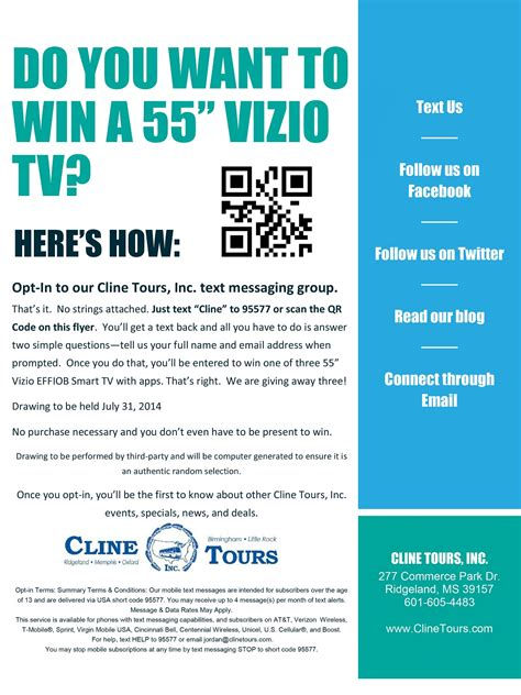 Tv Giveaway Flyer - do you want to win a tv cline tours