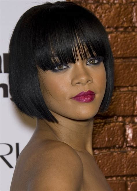 blunt cuts on african american women bob cut hairstyle with bangs www pixshark com images