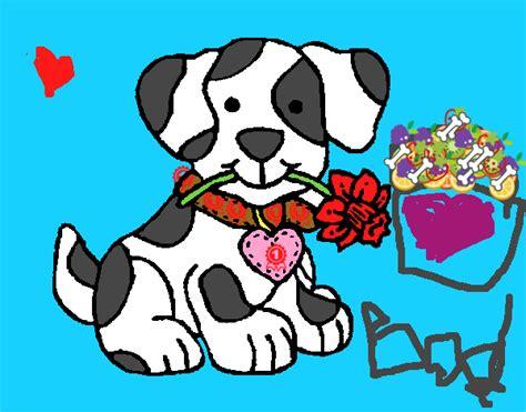 dibujo de cachorro con una flor en la boca para colorear cachorro con una flor en la boca pintado por