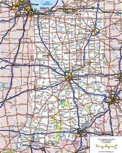 large detailed roads and highways map of indiana state