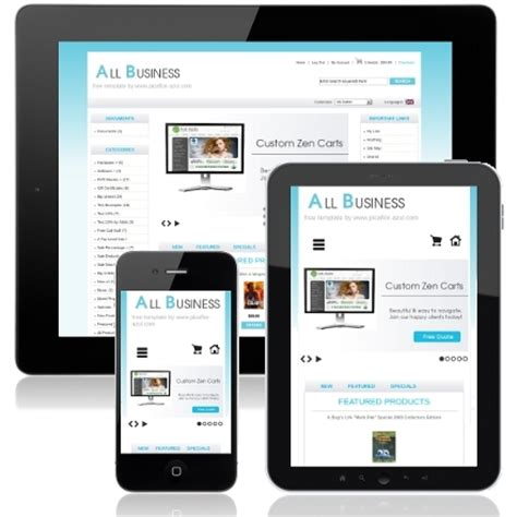 responsive mobile friendly zen cart template all business