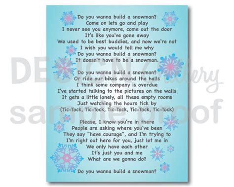 printable lyrics to didn t i walk on the water do you want to build a snowman song lyrics diy