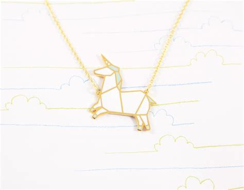 Wire Origami - origami unicorn necklace collier licorne bird on the
