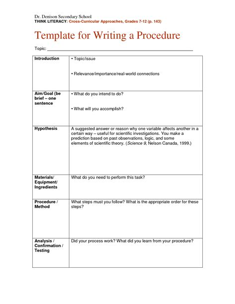 written procedure template search results for sle science project paper
