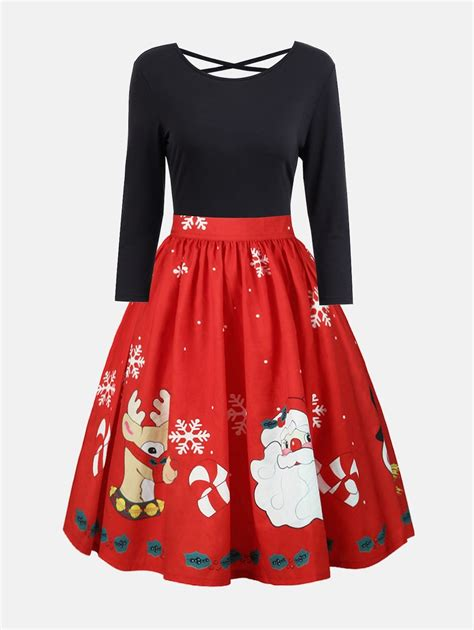 red xl plus size christmas criss cross print dress