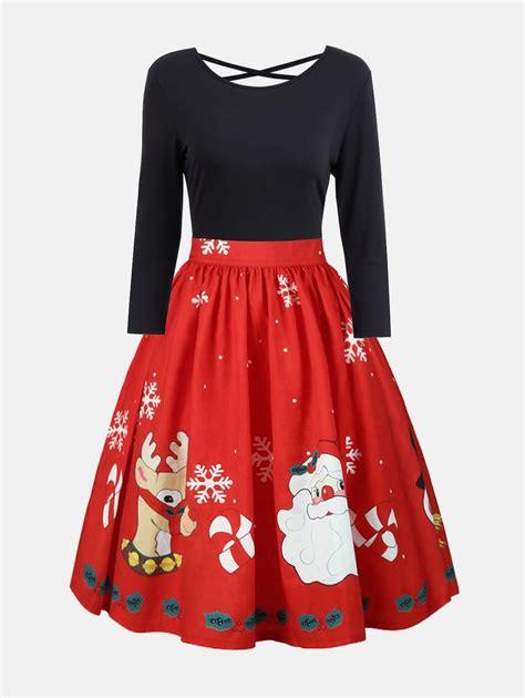 2017 Christmas Plus Size Criss Cross Print Dress Red Xl In Best Womens White Dress Shirt