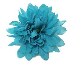 teal colored flowers teal turquoise blue chrysanthemum hair flower clip