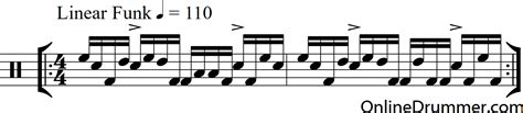 drum pattern funk linear funk drum beat onlinedrummer com