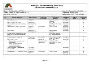 inspection test plan template best photos of exle of quality assurance plan quality
