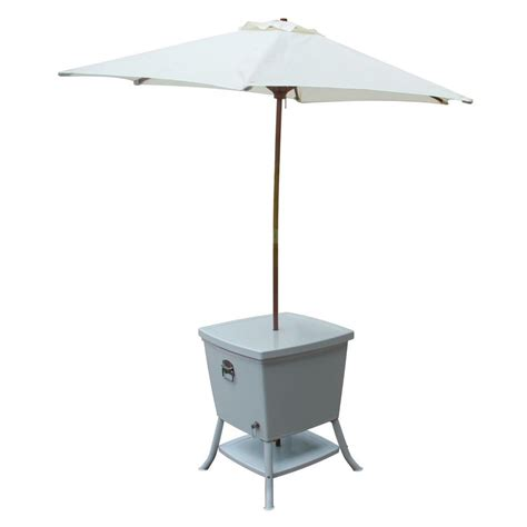 Patio Table With Cooler Leisure Season 24 In Square Steel Cooler Patio Table With Umbrella Ct1077umb The Home Depot
