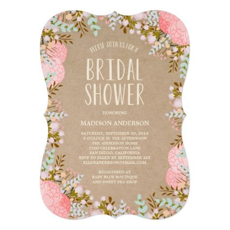 rustic flowers bridal shower invitation