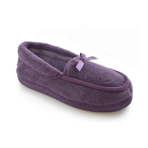 ladies house slippers womens ladies terry fleece moccasin loafer indoor house slippers slipper shoes ebay