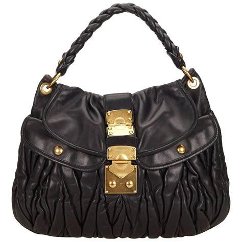 Miu Miu Coffer Clutch Conflict by Miu Miu Black Leather Coffer Shoulder Bag For Sale At 1stdibs